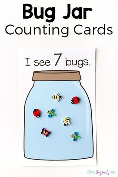 This bug jar counting game and the printable counting cards make learning to count fun and engaging for toddlers and preshcoolers. Your kids will love it! Insect Activities, Printable Activities For Kids, Preschool Printables, Preschool Worksheets, Math Activities, Preschool Activities, Math Games, April Preschool, Preschool Names