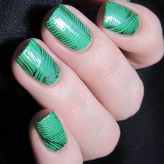 Green stamping nail art, what kind of lipstick do you think could match with the green nails well?
