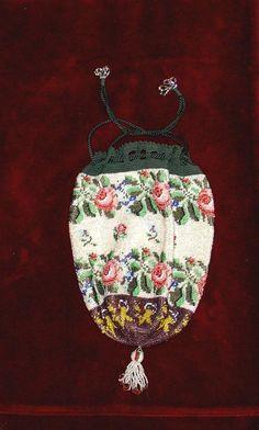 Beautiful Victorian drawstring Floral beaded purse