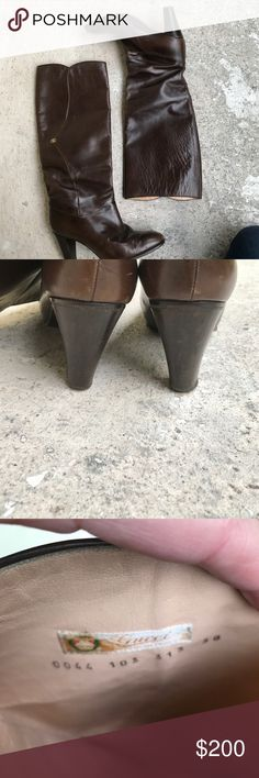 Gucci Boots There's brown boots are in good condition do you have a mark two through the shaft not a big deal at all. Sole are good but they do need new taps Gucci Shoes Heeled Boots
