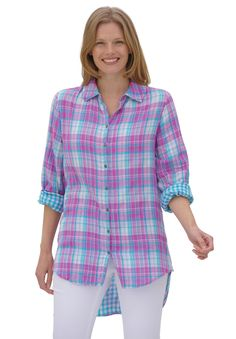 "We now offer your favorite plus size shirt style in a lightweight, airy gauze in gorgeous colors. The dramatic high-low silhouette makes this top a summer must have. Plaids and solids with check lining. Turn back cuffs to show check lining.  relaxed fit allows for freedom of movement 34"" length falls to lower thighs shirt collar with button placket long, button-cuff sleeves with armholes shaped to let you move with ease high-low shirttail hem is 6"" shorter in front soft washable woven…"