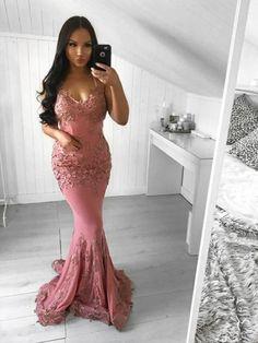 Spaghetti Straps Dark Pink Mermaid Evening Dresses Cheap V Neck Prom Dresses da9d3c244