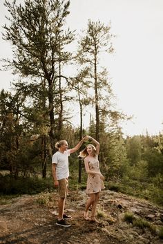 Engaged couple spinning around in the forest. Couple Picture Poses, Couple Posing, Couple Shoot, Engagement Couple, Engagement Shoots, Look At This Photograph, Summer Couples, Couple Photography Poses, Photo Poses