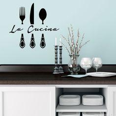 Stickers muraux pour la cuisine - Sticker La cucina 2 | Ambiance-sticker.com Ambiance Sticker, Deco Stickers, Decoration, Murals, Rooms, Graphics, Silhouette, Places, Fun