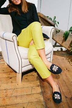 "Our Boden Stylist recommends the mimosa yellow Boden Richmond 7/8 Trousers. ""They are super-flattering in the areas you'd hope (the bottom!) and they sit perfectly on your ankle, which means they look smart with both heels and flats."""