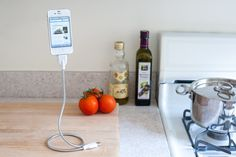 Bobine stand + charger keeps your phone propped up so you can read recipes!