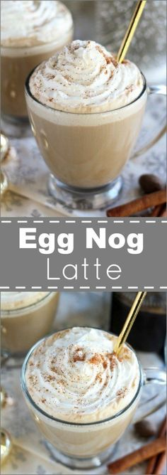 Nadire Atas on Egg Nog Drinks Egg Nog Lattes - Egg Nog Lattes blend the classic flavors of egg nog with coffee or espresso and a swirl of whipped cream. Try making this easy and festive holiday drink at home - you'll love every sip! Christmas Drinks, Holiday Drinks, Holiday Recipes, Christmas Recipes, Christmas Stuff, Christmas Coffee, Holiday Meals, Christmas Morning, Thanksgiving Recipes