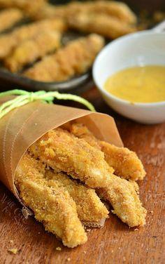 Easy Honey Mustard Baked Chicken Fries! from willcookforsmiles.com #snack #chicken