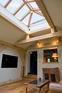 Oak framed extension with lantern above, designed by Alistair Ellen.