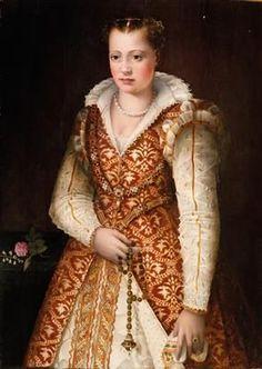 Florentine School, late Century Portrait of a lady, oil on panel, 115 x 82 Italian Renaissance Dress, Renaissance Clothing, Renaissance Fashion, Historical Clothing, Medieval Dress, 16th Century Clothing, 16th Century Fashion, Italian Outfits, Italian Fashion