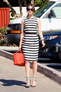 Emmy Rossum wearing a By Malene Birger dress, Pour La Victoire shoes and a Longchamp bag on the street, Los Angeles on August 8, 2013. Photo courtesy of vogue.com