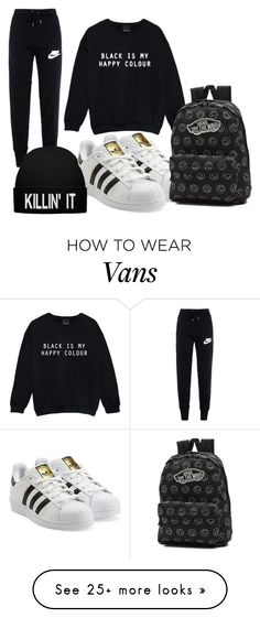 """""""Lazy day"""" by iforindya123 on Polyvore featuring NIKE, adidas Originals and Vans"""