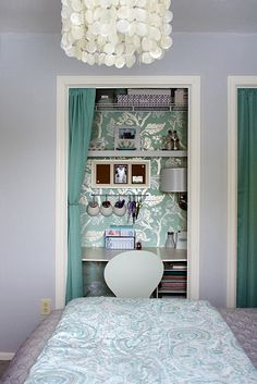 Small closet in bedroom with curtain