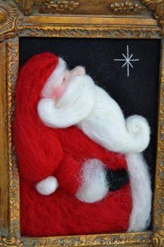 Items similar to Needle Felted Santa- Santa Claus - Noel - Christmas Santa on Etsy Felt Christmas Decorations, Felt Christmas Ornaments, Christmas Crafts, Xmas, Felt Pictures, Needle Felting Tutorials, Felt Fairy, Felt Birds, Felt Patterns