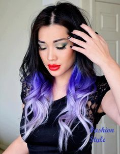 Black Hair with Purple Undertones with White Tips. Love.