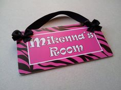 teenagers hot pink zebra print door sign - girls nursery hanger plaque - animal pattern - PL102 on Etsy, $18.85 AUD