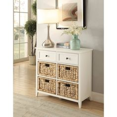 Benzara Flavius Console Table With 6 Drawers, White