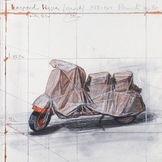 "I love Christo's drawings - this one is ""Wrapped Vespa"""