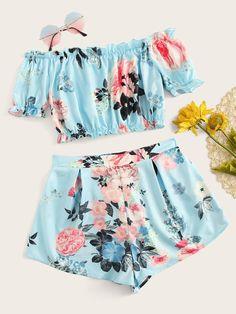 Cute Girl Outfits, Cute Summer Outfits, Teen Fashion Outfits, Cute Casual Outfits, Cute Fashion, Outfits For Teens, Look Fashion, Woman Fashion, Crop Top Und Shorts