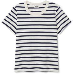 Kate Striped T-shirt - Blue - Tops - Weekday (25 CAD) ❤ liked on Polyvore featuring tops, t-shirts, blue tee, relaxed tee, white tee, stripe tee and round neck t shirts