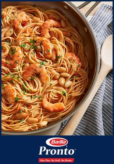 With Barilla Pronto, make One Pan Spaghetti with Spicy Marinara & Shrimp in minutes with only one pan to clean. This delicious pasta recipe combining hearty beans, shrimp and spaghetti will make sure you spend less time in the kitchen and more time basking in the glow of a well-fed family.