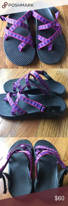 Chacos sandals UEC Chacos pink and purple sandals. These are in amazing condition - worn only a few times. The color is bright and so fun! These will go fast Chacos Shoes Sandals
