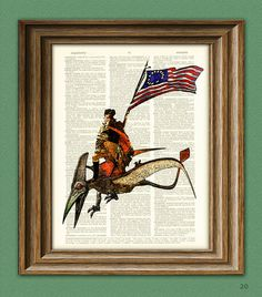 Will be grouping the other historical figures on dinosaur-back together. President George Washington riding a Pterodactyl by collageOrama, $6.99