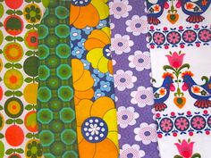 Vintage 1970s Fabric Scrap Pieces   No 5 by Pommedejour on Etsy, $45.00. Killing me with gorgeous.