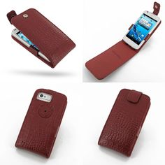 PDair Leather Case for Acer Liquid Gallant Duo E350 - Flip Top Type (Red/Crocodile Pattern)