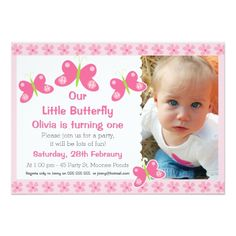 Girls Butterflies Photo Birthday Party Invitation