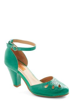 Petal to the Plaza Heel in Emerald by Miz Mooz - Green, Solid, Cutout, Wedding, Party, Holiday Party, Mid, Leather, Work, Vintage Inspired, ...