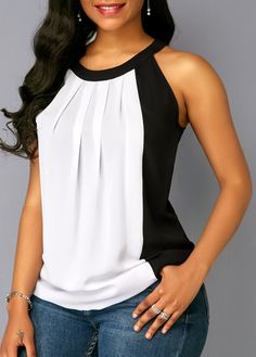 Plus Size Summer Women Casual Off Shoulder T-shirt Contrast Color Patchwork Chiffon Sleeveless Blouse Color Block Tank Top Fashion Wear, Fashion Outfits, Casual Outfits, Blouse Styles, Blouse Designs, Fashion Essay, Off Shoulder T Shirt, Sewing Blouses, Trendy Tops