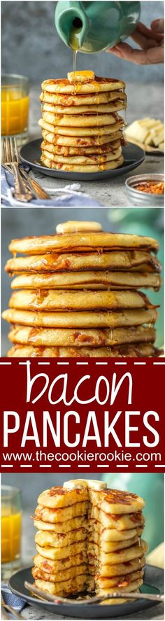 These BACON PANCAKES have been a family favorite for years! We first had these savory pancakes stuffed with bacon bits at the Calgary Stampede in Canada and have been making them ever since. The savory/sweet combo just can't be beat! via /beckygallhardin/ Pancakes And Bacon, Savory Pancakes, Bacon Pancake, Bacon Breakfast, Breakfast Buffet, Brunch Recipes, Breakfast Recipes, Pancake Recipes, Pancake Ideas