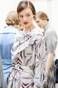 Montana Cox backstage at Cacharel Fall/Winter 2012 RTW at Paris Fashion Week. Photo by Pamela Berkovic.