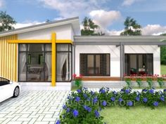 Modern Bungalow House Design With Three Bedrooms - Ulric Home Modern Bungalow House Design, Modern House Floor Plans, Simple House Design, Bungalow House Plans, Duplex House Plans, Bungalow Designs, One Storey House, Village House Design, Roof Styles