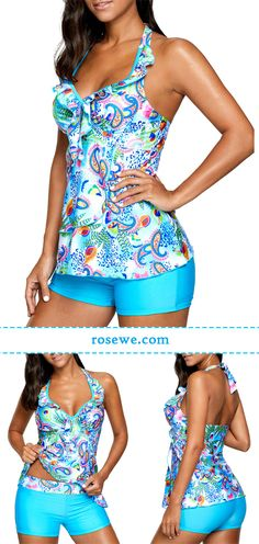 Forget the days passed, forget the pain and your bad, just enjoy sunshine on the beach, Printed blue open back padded tankini set on sale only US$30.38 now, don't miss again.
