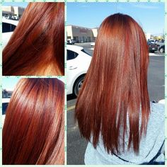 Spring hair! !  Pravana red copper base with vibrant red highlights and mahogany violet lowlights :) long healthy hair with long layers salon envy