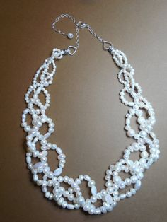 Custom pearl necklace reserved for Nadia. Real pearls, freshwater pearls, multi strand pearl necklace, statement necklace