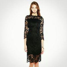 Black Lace Dress - Elegant Sheath Dress Bow Back