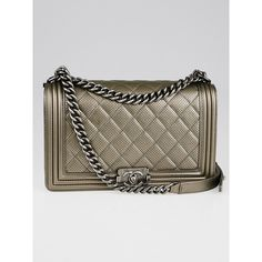 Pre-owned Chanel Dark Gold Perforated Quilted Leather New Medium Boy... (€3.580) ❤ liked on Polyvore featuring bags, handbags, quilted chain strap shoulder bag, gold handbags, quilted purses, chanel shoulder bag and gold purse