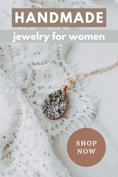 This amazing silver druzy quartz necklace is the perfect piece to add to your collection! It is trendy yet simple and is sure to make a statement. The teardrop shape is wrapped in 14kt rose gold fill wire and hangs from a delicate rose gold filled cable chain. Each are slightly different, making this a one of a kind piece! #handmadejewelry #druzynecklace #rosegoldnecklace #pendantnecklace