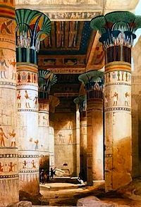 Egyptian columns with their tops carved and painted to resemble plants abundant in the waters of the Nile-lilies or bundles of the lotus or the papyrus reed