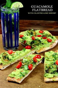 PINNING b/c its SO GOOD! Grilled Guacamole Flatbread with Cilantro-Lime Shrimp! SO GOOD!