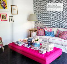 Magnolia Interiors feature on Adore Magazine summer Edition Dec2011. {Daybed/Ottoman #magenta #pattern #colour #white}