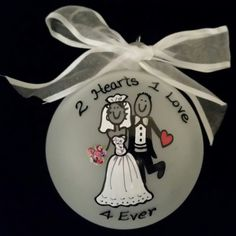2 Hearts 1 Love, wedding gift, personalized ornament, Christmas ornament, wedding favor, gift by Wurksfromtheheart on Etsy