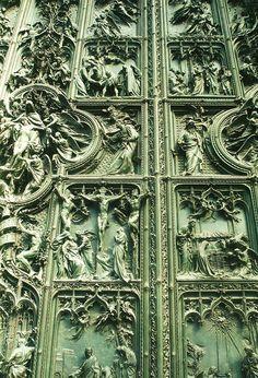catholic history  duomo's door - milano - italy - october 2008. The doors to end all doors.