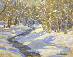 Garth Armstrong -Winter Stream North of Oshawa 8 x 10 Canadian Painters, Brush Strokes, Landscapes, Pure Products, Winter, Painting, Art, Paisajes, Winter Time