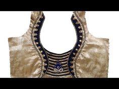 New model blouse back neck design cutting and stitching # Latest blouse # DIY Chudithar Neck Designs, Latest Blouse Neck Designs, Sari Blouse Designs, Fancy Blouse Designs, Choli Designs, Hand Designs, Blouse Neck Models, Patch Work Blouse Designs, Stylish Blouse Design