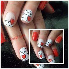 Its like Dalmatian Valentines day nail art! Fingernail Designs, Cute Nail Designs, Hot Nails, Hair And Nails, Valentine Nail Art, Finger Nail Art, Fabulous Nails, Holiday Nails, Nails Inspiration