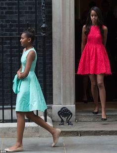 Malia, 16 (right), and Sasha, 14 (left), made their way to Downing Street on Tuesday, showcasing considerably more mature and refined style